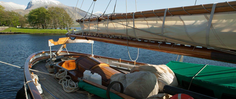 a traditional sailing boat at Corpach