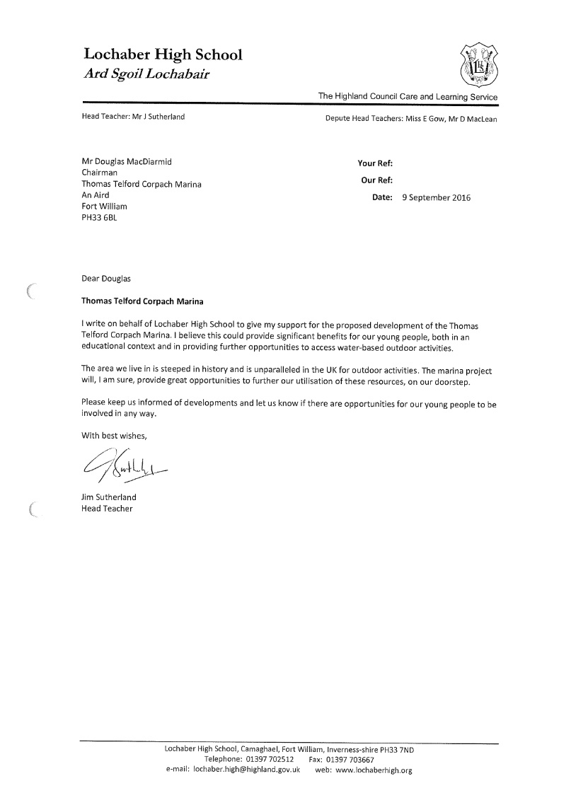 a letter of support from Lochaber High School head Teacher